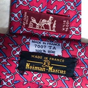 Hermes Accessories - Hermes Red Blue Silver Horsebit Silk Tie 7007 TA